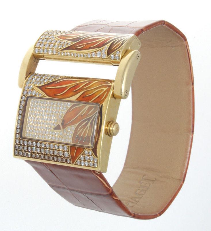 "Image of ""Piaget 18K Yellow Gold Diamond & Enamel Womens Watch"""