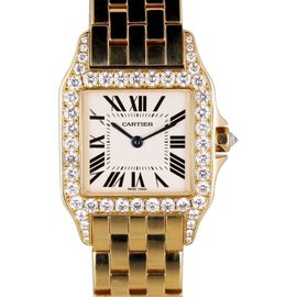 Cartier Santos Demoiselle 2702 18K Rose Gold Diamond Bezel Watch