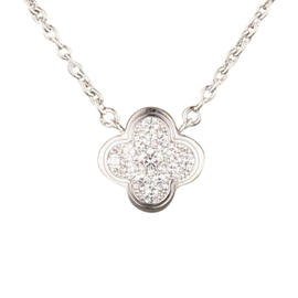 Van Cleef & Arpels 18K White Gold and Diamond Alhambra Necklace