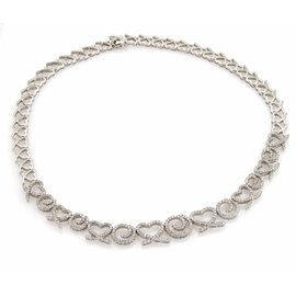 14K White Gold 5.83ct Diamonds Hearts & Swirl Link Necklace