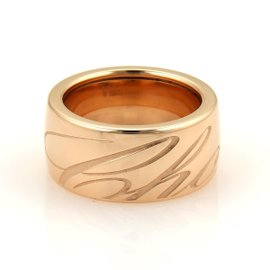 Chopard Chopardissimo 18k Rose Gold Engraved Ring Size 7.75