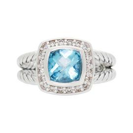 David Yurman 925 Sterling Silver Petite Albion Blue Topaz & Diamond Ring