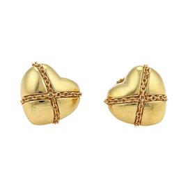 Tiffany & Co. 925 18K Yellow Gold Crossover Hearts Stud Earrings