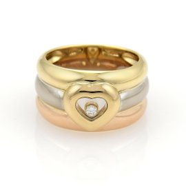 Chopard Happy 18K Tri-Color Gold Diamond Heart Band Ring