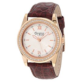Bulova Caravelle 44L105 Rose Gold-Tone Leather Crystal Womens Watch