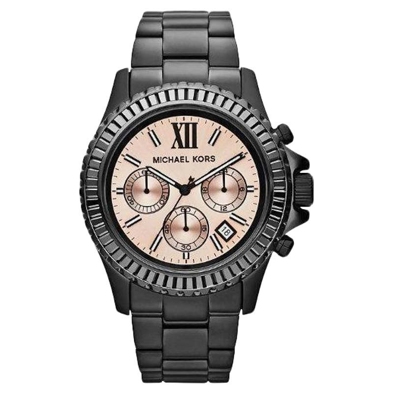"""Image of """"Michael Kors Mk5872 Everest Chronograph Peach Dial Black Ion-Plated"""""""