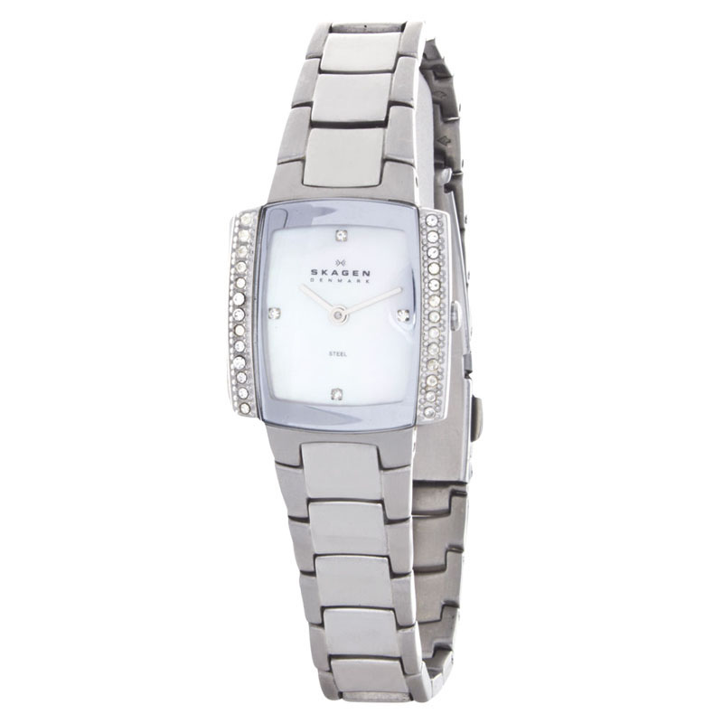 "Image of ""Skagen 688Ssx Mother of Pearl Dial Stainless Steel Bracelet Womens"""