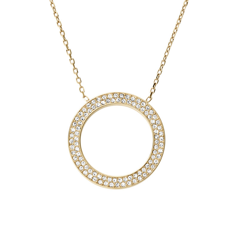 "Image of ""Michael Kors Crystal Pave Circle Pendant Golden Stainless Steel"""