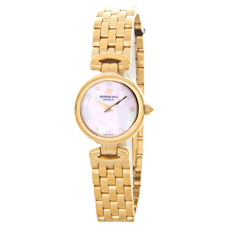 "Image of ""Raymond Weil 5588P Gold Tone Stainless Steel Mother of Pearl Dial 22mm"""