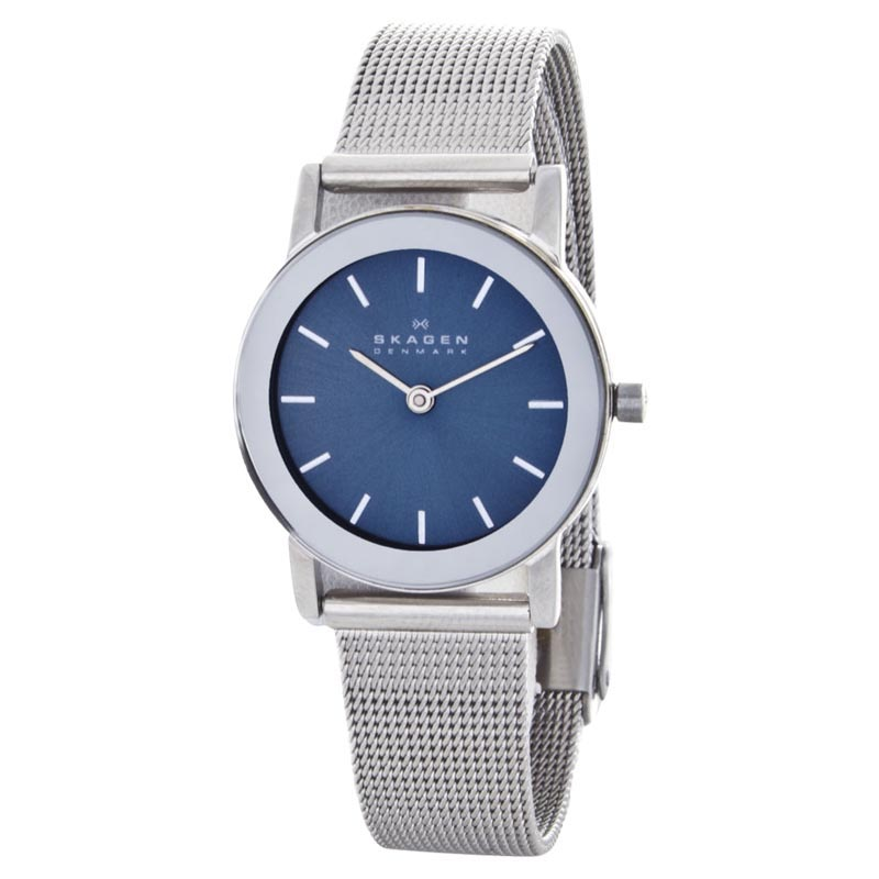 """Image of """"Skagen Prsk1024 Blue Dial Stainless Steel Mesh Strap Womens Watch"""""""