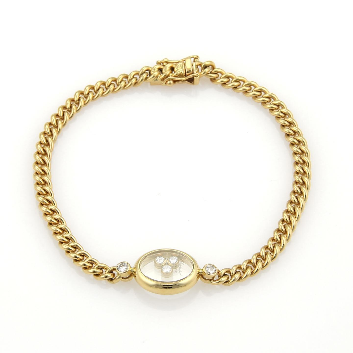 """""Chopard Happy Diamonds Oval Charm 18K Yellow Gold Curb Link Chain"""""" 505686"
