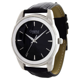 Caravelle by Bulova Men's Black Dial Leather Band Watch 93A101