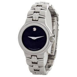 Movado Black Dial Stainless Steel Womens Watch