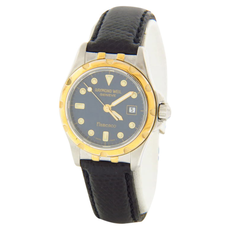 "Image of ""Raymond Weil Flamenco Two-Tone Steel Case Black Leather Strap Quartz"""