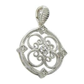 Leslie Greene Sterling Silver Diamond Round Monarch Pendant