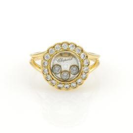Chopard Happy Diamond 18K Yellow Gold Diamond Bezel Round Ring