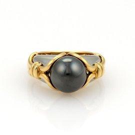 Bulgari 18K Yellow Gold & Stainless Steel Hematite Ring
