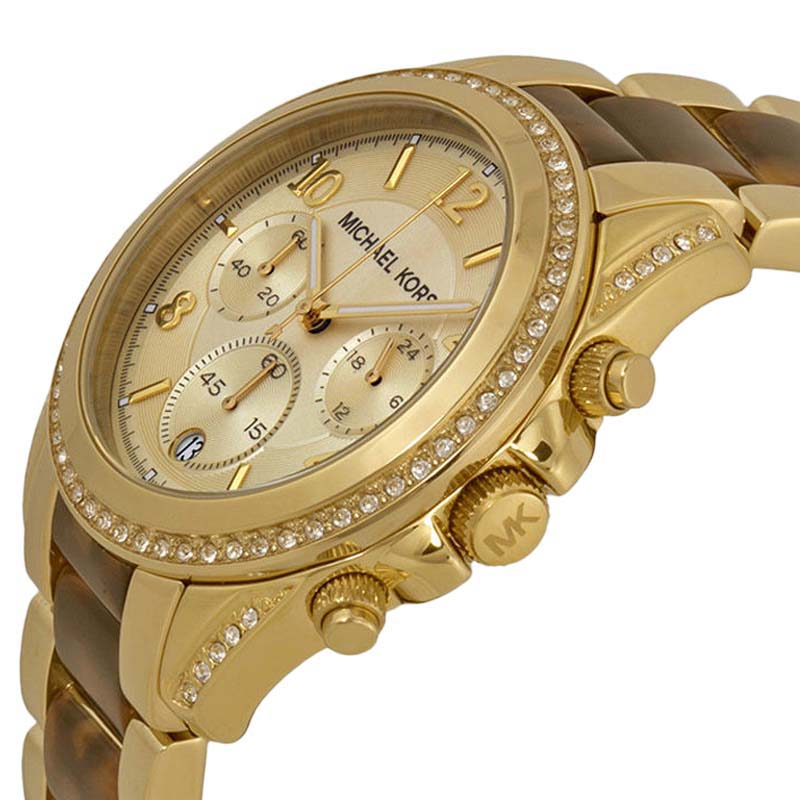 "Image of ""Michael Kors Mk6094 Blair Champagne Dial Gold Tone Chronograph Women's"""