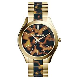 Michael Kors MK4284 Runway Gold-Tone Steel Tortoise Acetate Dial Women's Watch