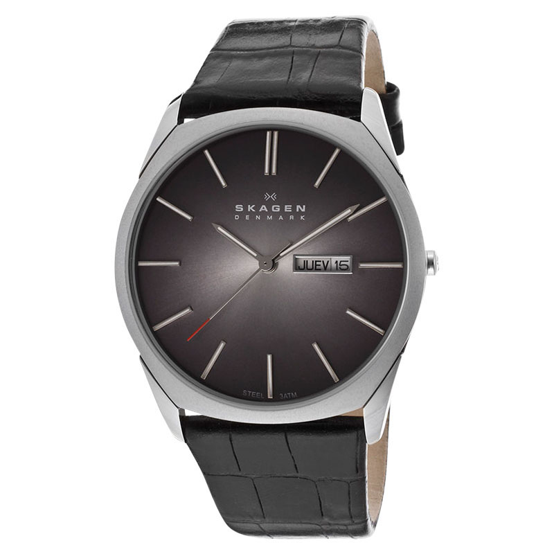 "Image of ""Skagen 890Xlslm Stainless Steel Black Dial Black Leather Band Watch"""