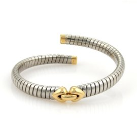 Bulgari Steel & 18K Yellow Gold Tubogas Heart Flex Bracelet