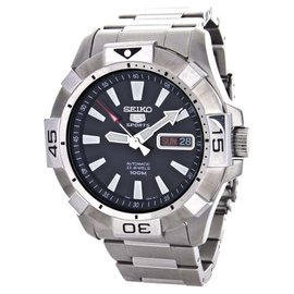 Seiko Black Dial Stainless Steel Mens Watch