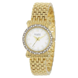 Bulova Caravelle 45L122 Crystal Bezel Gold Plated Bracelet Womens Watch