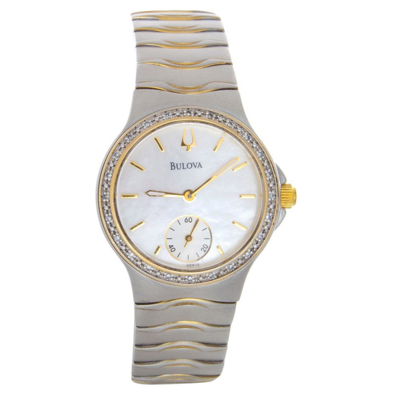 "Image of ""Bulova 98W12 Mother Of Pearl Dial Two-Tone Stainless Steel Bracelet"""