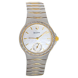 Bulova 98W12 Mother Of Pearl Dial Two-Tone Stainless Steel Bracelet Quartz Womens Watch