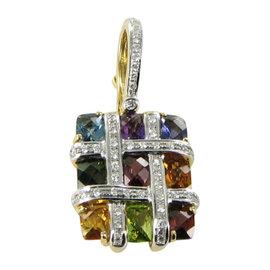 Bellarri Mosaic 18K Yellow Gold Diamond Gemstones Enhancer Pendant