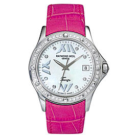 Raymond Weil 5590-S3S-97650 Tango Pearl Dial Pink Leather Strap Womens Watch