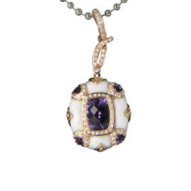 Bellarri 18K Rose Gold Diamonds Amethyst and White Onyx Anastasia Pendant
