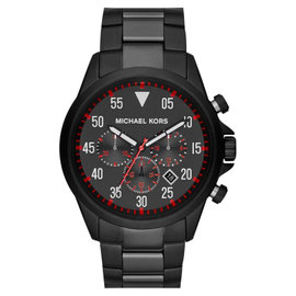 Michael Kors MK8332 Nate Chronograph Black Dial Black Ion-plated Mens Watch