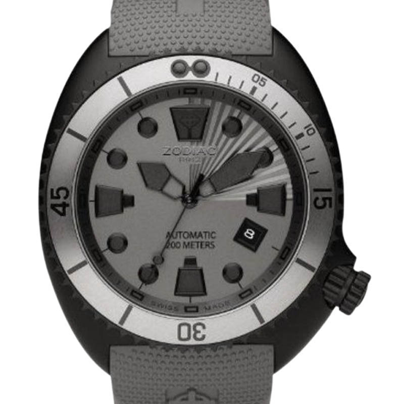"""Image of """"Zodiac Zo8014 Oceanaire Automatic Grey Rubber Band Black Stainless"""""""