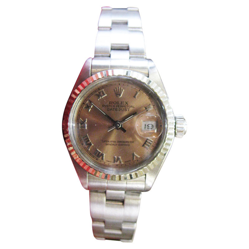 """Image of """"Rolex Oyster Perpetual Datejust Copper Salmon Dial Steel Womens"""""""