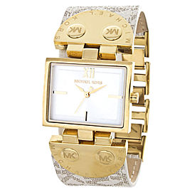 Michael Kors Allover MK2342 MK Logo Band Gold Leather Womens Watch
