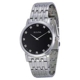 Bulova 96D106 Diamond Black Dial Stainless Steel Men's Watch