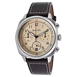 Bulova Military 96B231 Beige Dial Leather Strap Chronograph Men's Watch