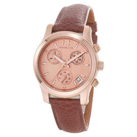 Michael Kors MK5430 Peach Dial Brown Leather Band Chronograph Quartz Watch