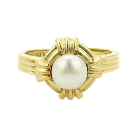 Tiffany & Co. Pearl 18K Yellow Gold Groove Design Ring