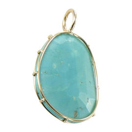 Heather B Moore 14K Yellow Gold Wire Turquoise Charm Pendant