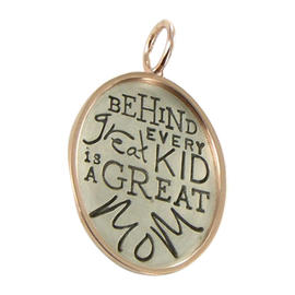 Heather B Moore 14K Yellow Gold 925 Sterling Silver Oval Every Kid Great Mom Charm Pendant