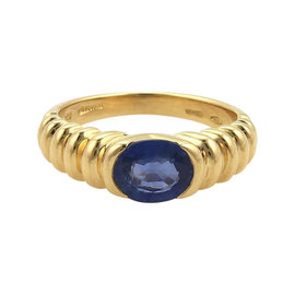 Bulgari Sapphire & 18K Yellow Gold Ribbed Design Ring