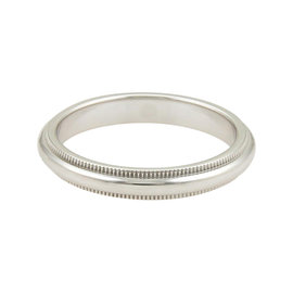 Tiffany & Co. Platinum Double Milgrain Wide Wedding Band Ring
