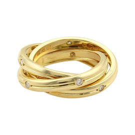 Cartier Trinity Diamonds 18K Yellow Gold Grooved 3 Band Ring 5.5