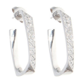 Tiffany & Co. 18K White Gold Frank Gehry Diamond Torque Earrings