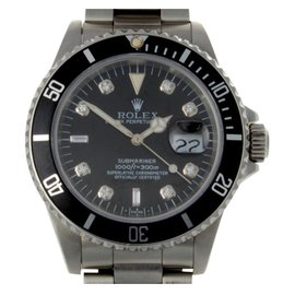 Rolex Submariner 16610 Black Diamond Dial Mens Watch