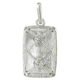 Judith Ripka 925 Sterling Silver Rectangular Gothic White Sapphires Enhancer Pendant