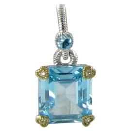 Judith Ripka 925 Sterling Silver 18K Yellow Gold Candy Sky Blue White Sapphire Enhancer Pendant