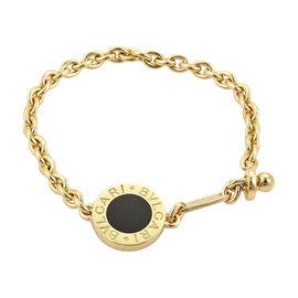 Bulgari 18K Yellow Gold Black Onyx Circle Charm Chain Bracelet